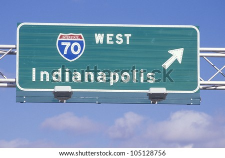 A sign for interstate 70 west in Indianapolis - stock photo