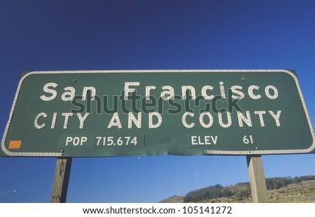A sign for San Francisco city and county
