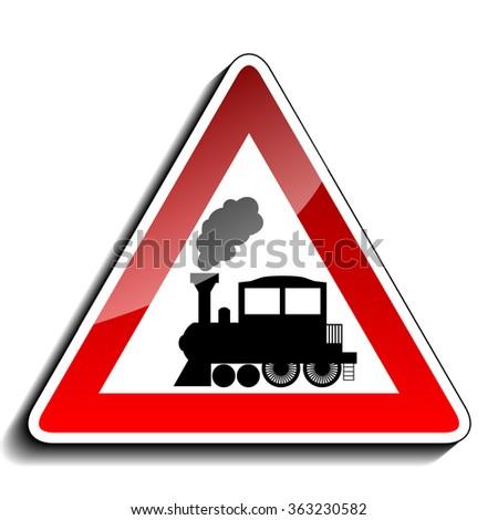 A sign warning train - stock photo