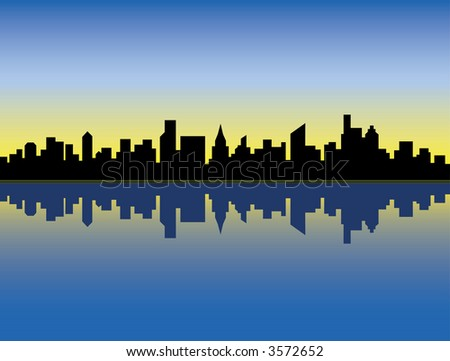 A silhouette illustration of a generic city skyline reflected in water at sunrise. Vector format also available.