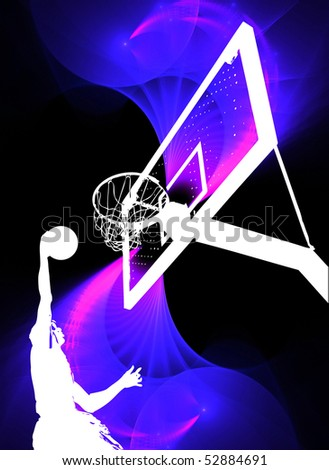 A silhouette of a basketball player slam dunking the ball over a swirly purple background. - stock photo
