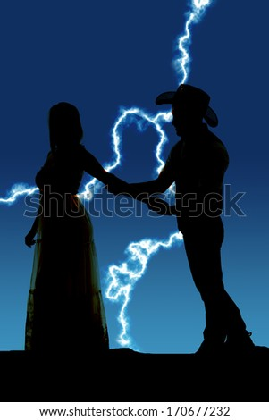 a silhouette of a cowboy grabbing his woman before she tries to leave.