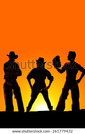 a silhouette of a cowgirl in the middle of two cowboys in the outdoors. - stock photo