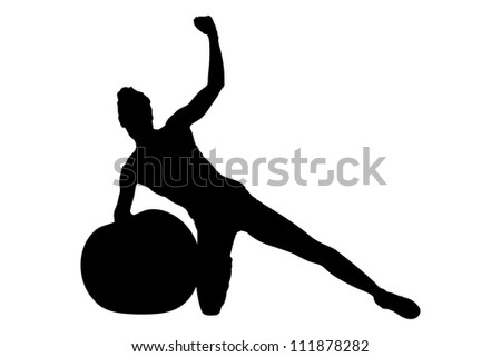 A silhouette of a female working out with a dumbbells isolated on white background - stock photo