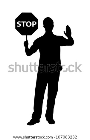 A silhouette of a full length portrait of a man gesturing and holding a traffic sign stop isolated on white background - stock photo