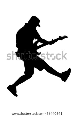 A silhouette of a guitar player jumping in midair isolated against white background - stock photo