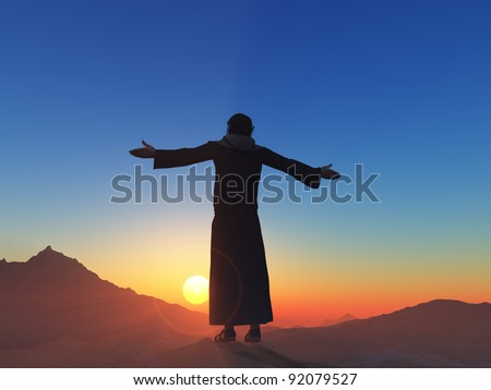A silhouette of a priest in a landscape.