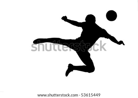 A silhouette of a soccer player with a ball isolated on white background