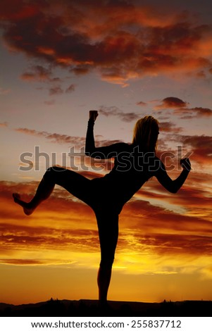 A silhouette of a woman in the outdoors kickboxing and working out. - stock photo