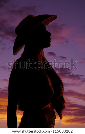 A silhouette of a woman looking up to the sky in her cowgirl hat. - stock photo