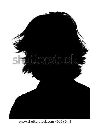 A silhouette of a young adult woman isolated on a white background. - stock photo