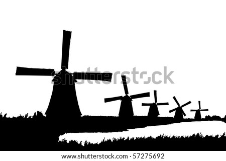 A silhouette of windmills in Kinderdijk, Holland, isolated on white background - stock photo