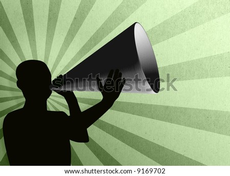A Silhouetted figure holding a large mega phone speaking into it over a starburst green textured background. - stock photo