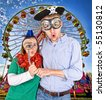 a silly couple at the state fair - stock photo