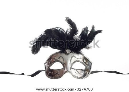 A silver feathered Venetian mask isolated on a white background with ribbons for fastening