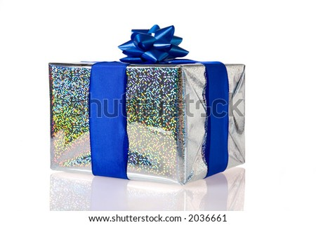 a silver  gift with a blue bow - stock photo