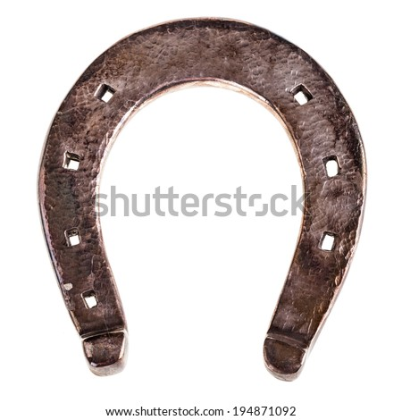 a silver horseshoe isolated over a white background - stock photo