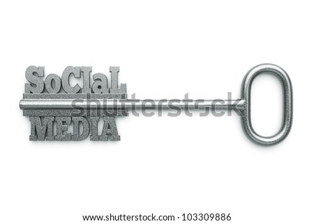"a silver key with words ""social"" and ""media"" as a concept"