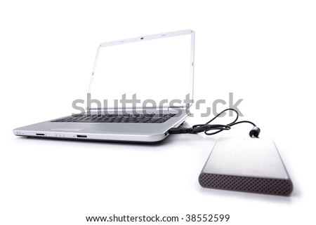 a silver laptop with an external disk with a white screen (isolated on white)