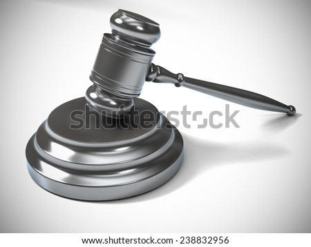 A Silver Metallic Judge Gavel and Soundboard Isolated on White Background. Perspective View.  - stock photo