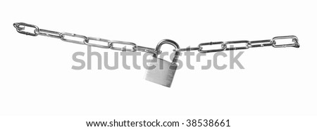 A silver padlock isolated with clipping path to lock your object. - stock photo