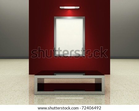 A silver picture frame on a wall inside a modern gallery. (A clipping path for the white content area is included for placing your own content.) - stock photo