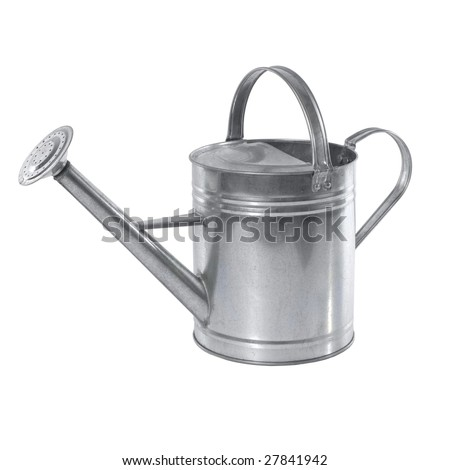 A simple aluminium watering can isolated on white background - stock photo