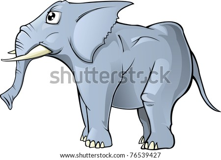 A Simple cartoon elephant; vector illustration isolated on white Background - stock photo