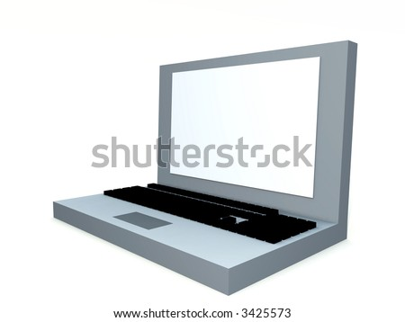 A simple computer created image of a Laptop/notebook computer. With a blank screen which you can fill in.