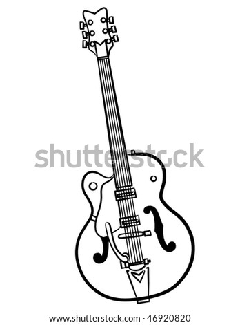 a simple Electric Guitar line art illustration - stock photo