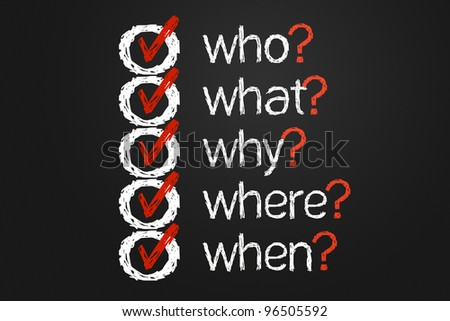 A simple question list with questions Who, What, Where, Ahy And When hand written on a black board. This is a computer generated image. - stock photo