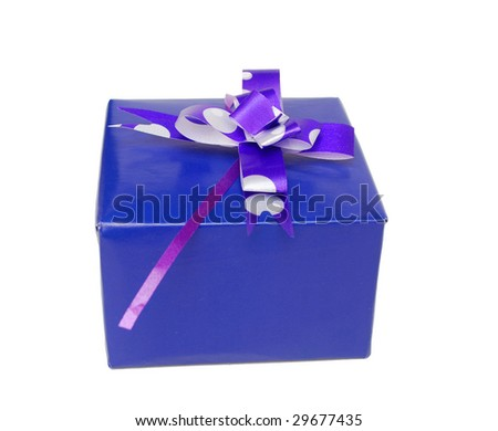 A single blue gift box