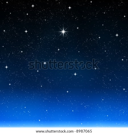a single bright wishing star stands out from all the rest - stock photo