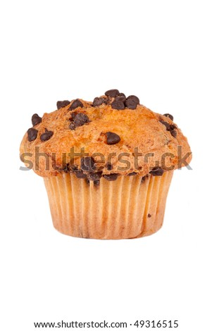 A single chocolate chip muffin. On white background. Isolated with clipping path.