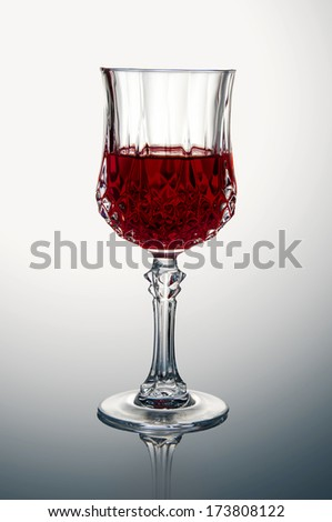 A single crystal glass of red wine