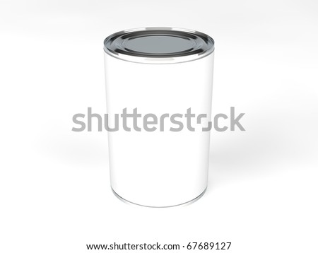 A single food can with a blank label - stock photo