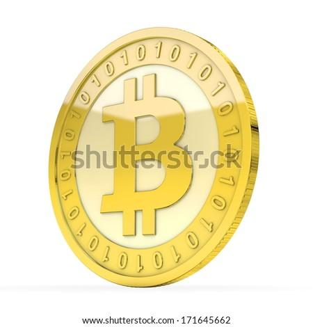 a single golden Bitcoin coin - stock photo