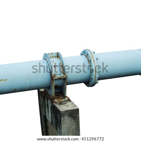 A single metal pipe on n the big cement post which located on the water