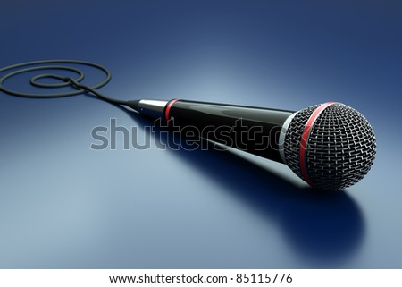 a single microphone on blue