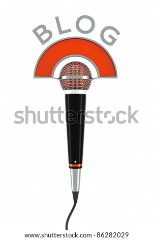 a single microphone on white as a simbol of internet blog - stock photo
