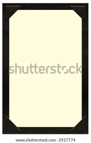 a single page black leather menu - stock photo