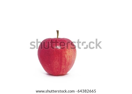 A Single Red Apple on a White Background - stock photo