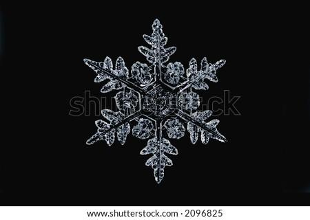 A single snowflake on black - stock photo