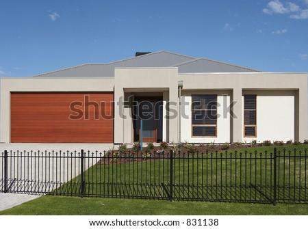 A single storey contemporary House - stock photo