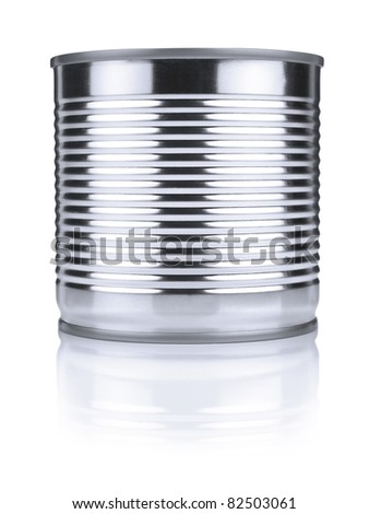 A single tin can isolated on white. - stock photo