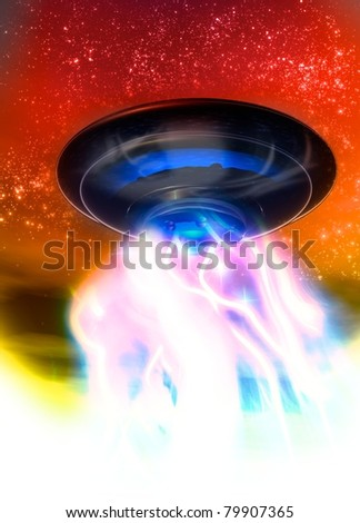 a single ufo is seen landing on earth displaying a large volume of smoke and light from underneath its metallic construction.