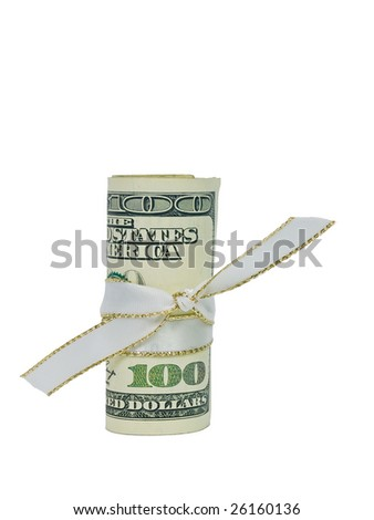 A single US Hundred Dollar Bill rolled and tied with a white and gold ribbon. - stock photo