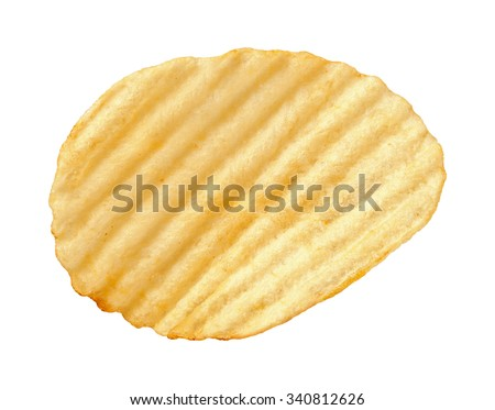 A single wavy potato chip with ridges, sometimes called ruffles, isolated on a white background. A salty snack associated with parties, and watching sporting events. - stock photo