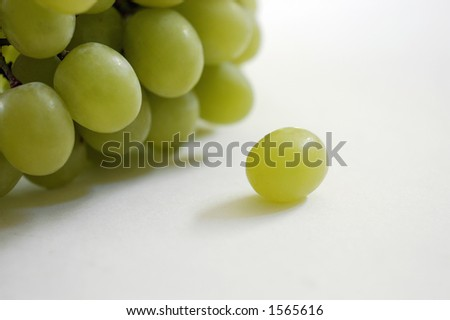 A single white or green grape sits alone on a white surface with a larger bunch behind - stock photo