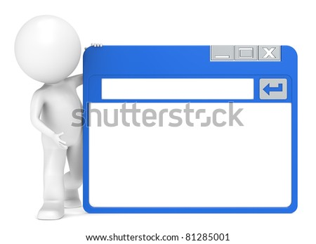 A Site. 3D Little Human Character holding a Simplified Browser Window - stock photo